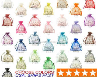 75 Organza Bags, 4x6 Inch Sheer Fabric Favor Bags, For Wedding Favors,  Drawstring Jewelry Pouch- Choose Your Color Combo fcba076c8e