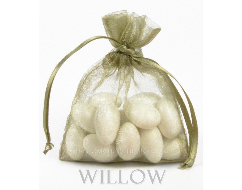bronze, greenish-tan 10 WILLOW Organza Bags 6 x 9 Inch Sheer Fabric Favor and Gift Bags