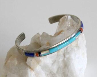 Zuni CS Lonjose Inlaid Sterling Cuff Bracelet