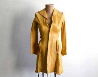 Yellow Tan Leather Coat xs