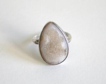 Crystal Agate Teardrop Sterling Ring
