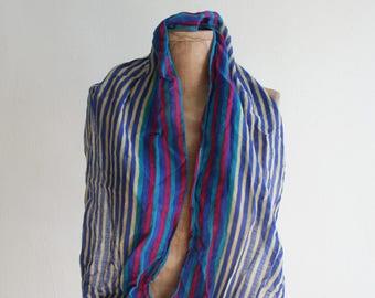 Indian Cotton Gauze Striped Scarf