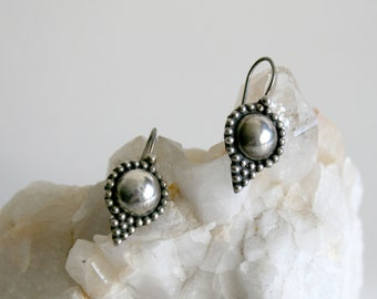 Sterling Dome Drop Earrings