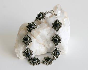 Onyx Daisy Sterling Bracelet