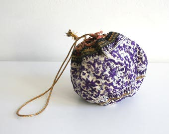 Purple Embroidered Indian Pouch