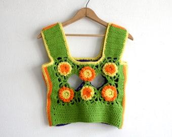 Crochet Daisy Crop Top xs-s