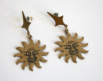 Large Brass Sun Earrings