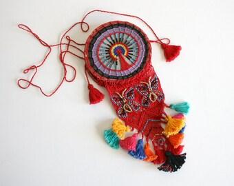 Small Woven Tribal Tassel Bag