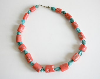 Large Coral Turquoise Beaded Necklace