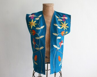 Mexican Teal Wool Embroidered Vest