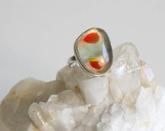Spotted Glass Sterling Ring