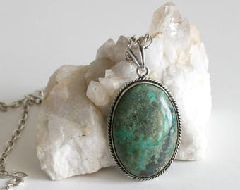 Large Green Turquoise Sterling Necklace