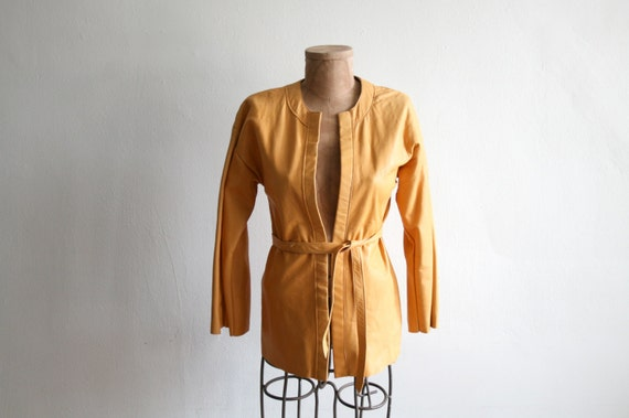 SALE Vintage Bell Sleeve Leather Coat