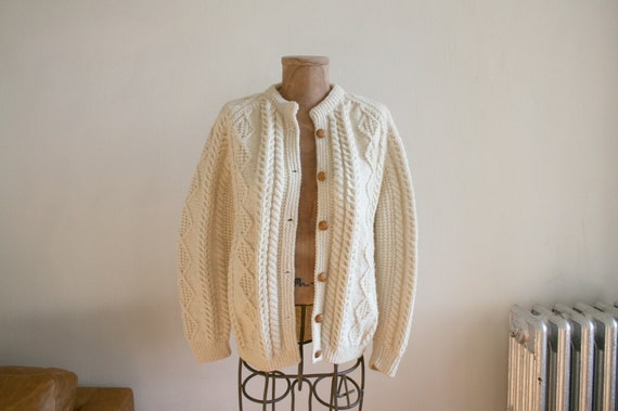 Handmade Irish Wool Fisherman Cardigan Sweater