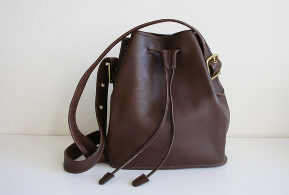 Coach Legacy Drawstring Bucket Bag | Brown Leather