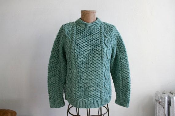 Green Irish Wool Fisherman Sweater
