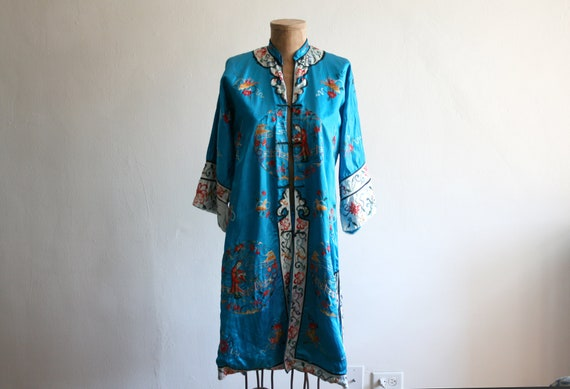 Turquoise Embroidered Silk Chinese Robe