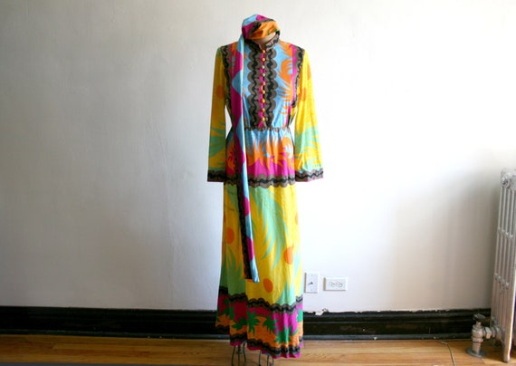 Malcolm Starr Psychedelic Tropicana Dress | Polyes