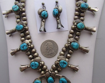 Vintage  1960s small Sterling and Turquoise Squash Blossom Necklace with Earrings