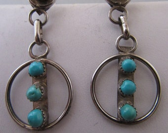 "Vintage ""Clybert Zunie"" Sterling and Turquoise Dangle Earrings"