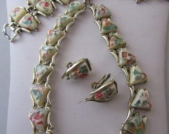 "Vintage ""Coro"" Multicolor Confetti Lucite Necklace, Bracelet, and Earring Set"