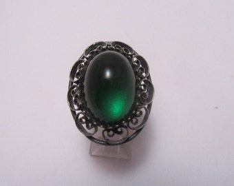 Green Glass and Sterling Ring