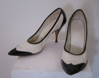 """Black and White Spectator High Heels by """"Jacqueline"""""""