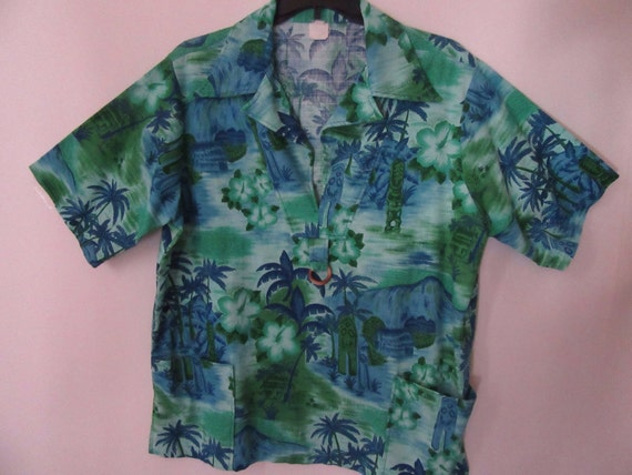 Tiki Oasis Man's 1970s Hawaiian Large Shirt