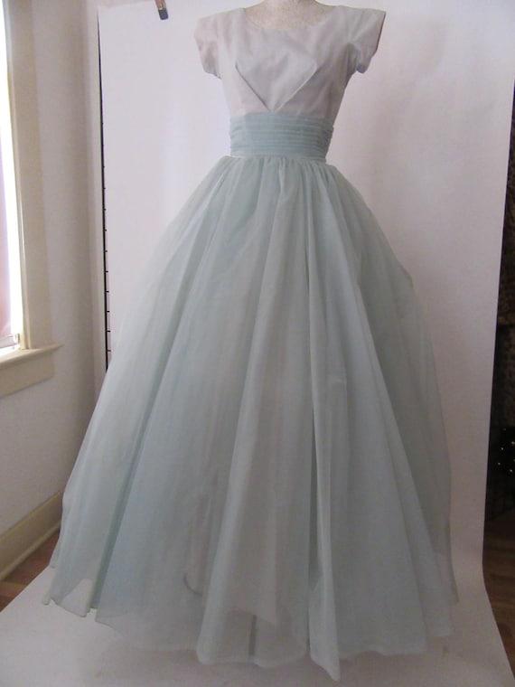 Pale Blue 1950-1960s Long Prom Dress