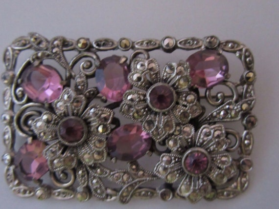 1940s Purple Glass and Marcasite Brooch