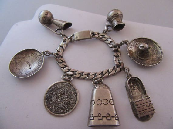 Sterling Extra Large Vintage Mexican Charm Bracele