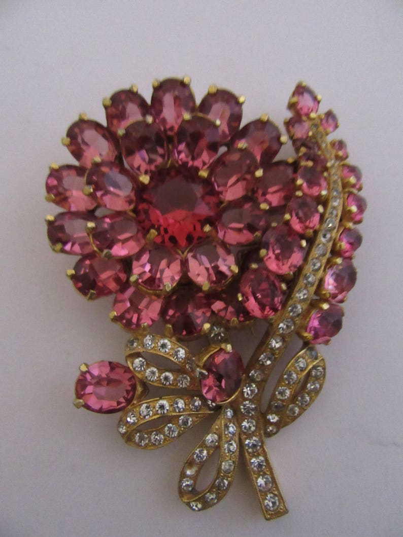 Large Hot Pink Crystal Flower Pin Vintage 1940s