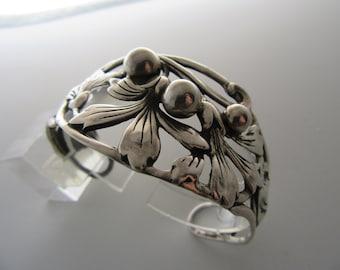 """1940s Vintage Sterling Floral Cuff Bracelet Signed """"Salamone"""""""