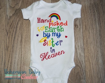 CUSTOMIZABLE Handpicked for earth by my brother sister sibling in heaven embroidered onesie shirt RAINBOW colors