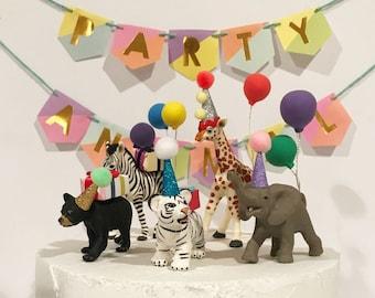 Safari Party Animal Cake Toppper, Zoo Cake Topper, Circus Cake Topper, Bear Cub, Elephant Cake Topper, Giraffe Cake Topper, Zebra, Tiger