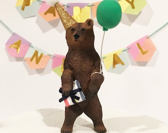 Birthday Brown Bear Animal Cake Topper - include gift, party hat and balloon, Grizzly Bear Cake Topper