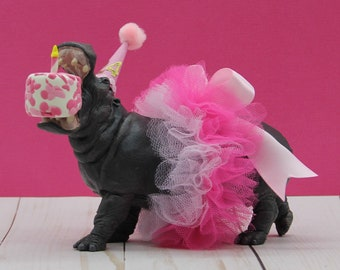 Happy Birthday Hippo Cake Topper, Party Animal Cake Topper, Hippopotamus Cake Topper, Princess Hippo Party