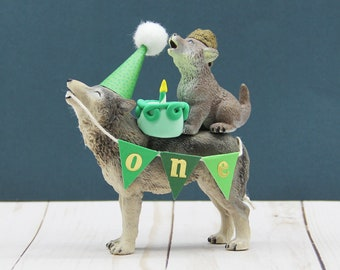 First Birthday Wolf Cake Topper,  Smash Cake Topper, Party Animal Cake Topper, Wolf Birthday Cake, Howling Party, Wolf Party