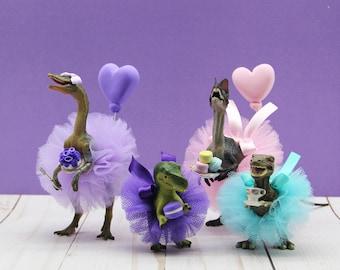 Dinosaur Tea Party, Girly Dinosaur Birthday Party, Dinosaur Cake Toppers
