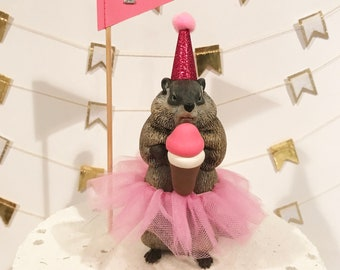 Birthday Groundhog Cake Topper- includes party hat, ice cream cone and flag (choose your number)