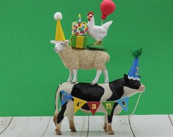 Barnyard Birthday Cake Topper, Farm Animal Cake Topper, Cow Cake Topper, Sheep Cake Topper, Chicken Cake Topper