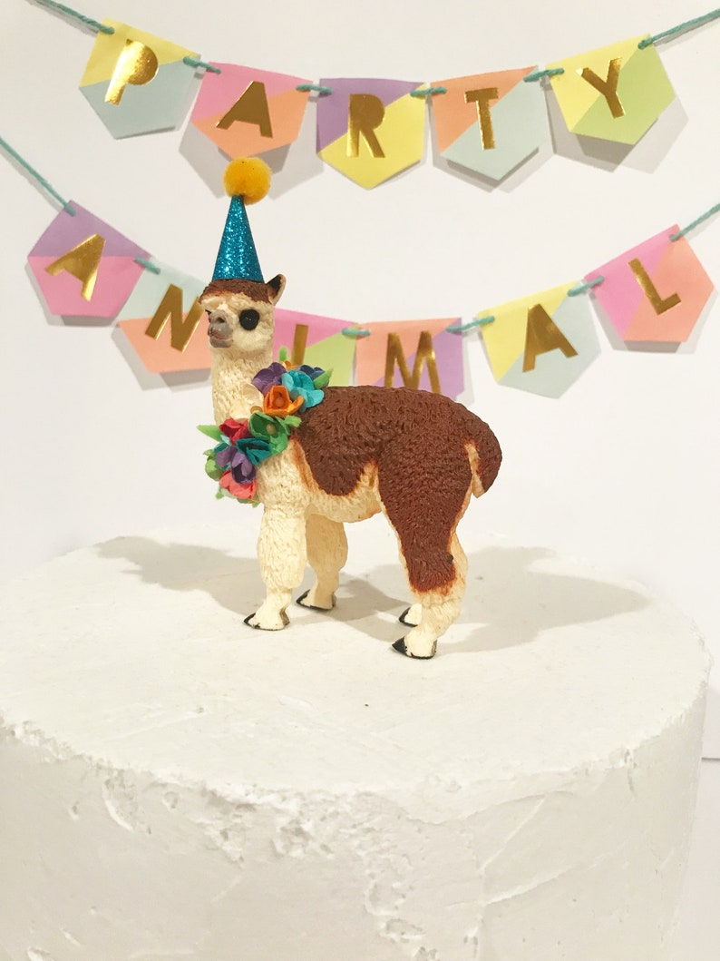 Alpaca Birthday Cake Topper includes floral wreath and ...