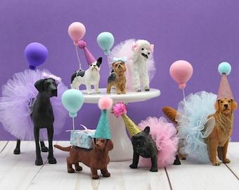 Animal Cake Topper, Dog party Birthday cake topper, Bulldog, Boxer, Dachshund, Frenchie, German Shepherd, Golden Retriever, Poodle