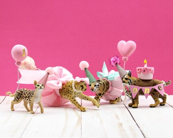 Big Cat Birthday Cake Topper, Leopard, Bobcat, Cheetah, Bengal, Cat Birthday Party, Cat Cake Topper