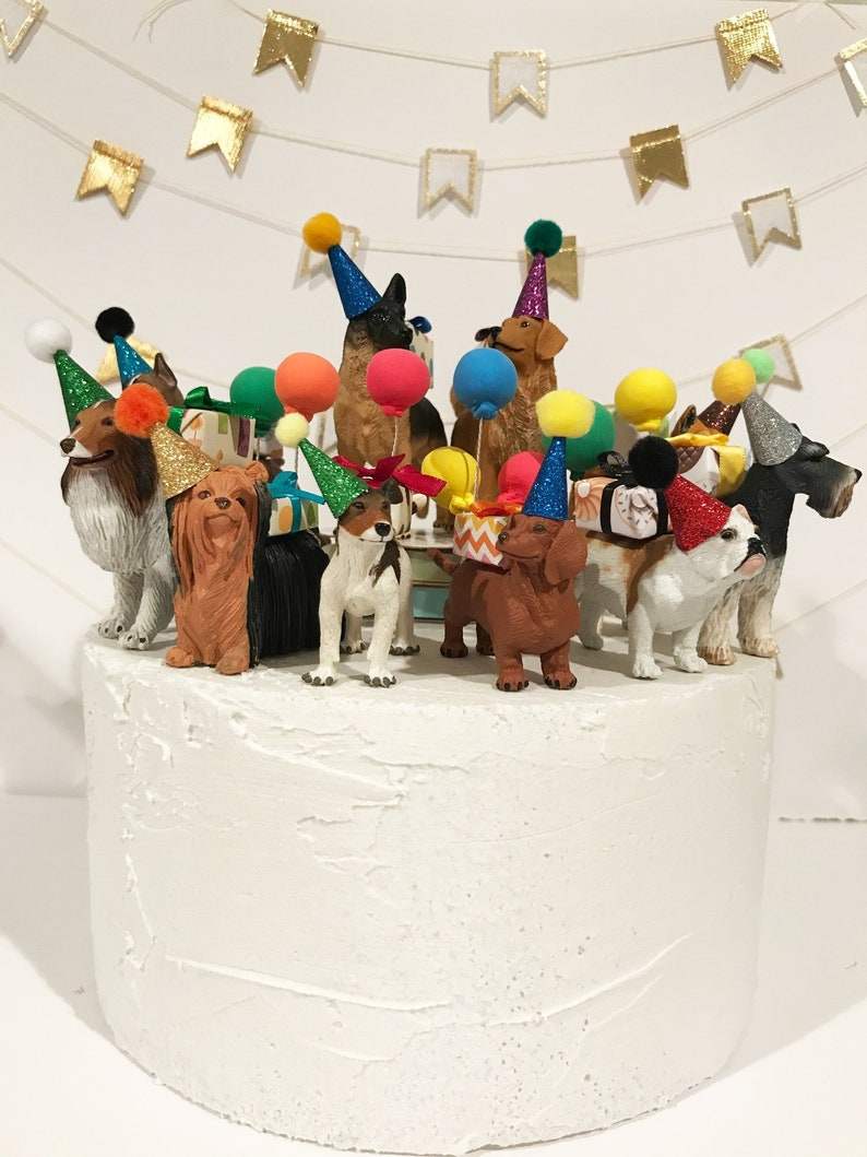 Dog Party Animal Birthday Cake Topper Bulldog Dingo Boxer