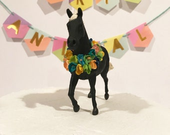 Black Horse Birthday Party cake topper or Kentucky Derby party decor