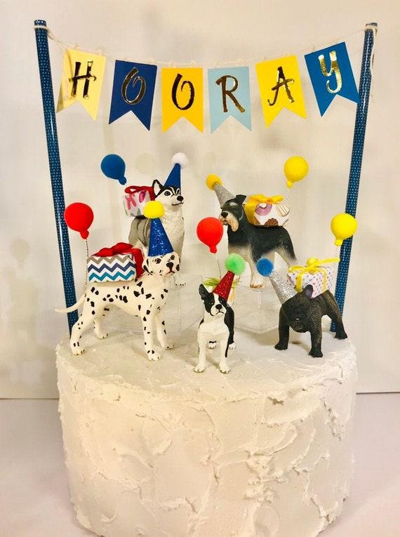 Peachy Dog Party Animal Birthday Cake Topper Bulldog Dingo Boxer Etsy Funny Birthday Cards Online Alyptdamsfinfo