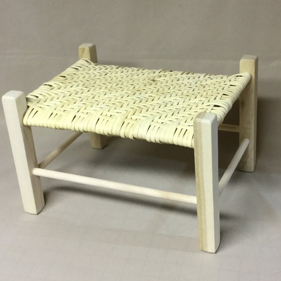 Admirable Small Foot Stool Wood Frame Herringbone Pattern Woven With Binder Cane Beatyapartments Chair Design Images Beatyapartmentscom
