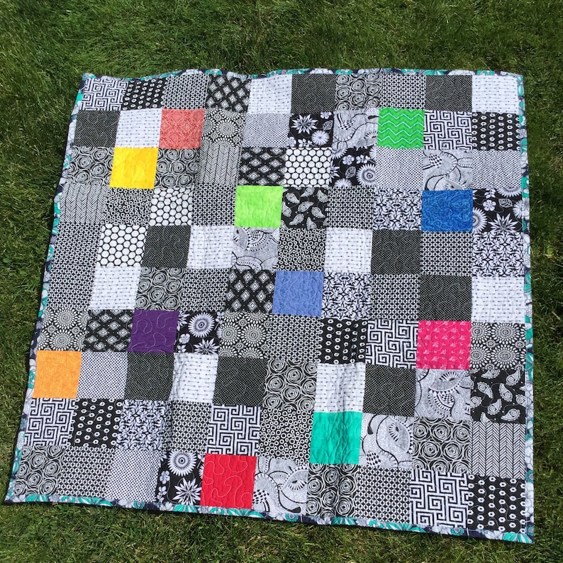 Hand Made Modern Baby Quilt Navy and Teal Floral Backing Black White and Brights
