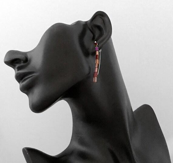 Earrings- Hand-made Beaded Drop Earrings - 1 pair
